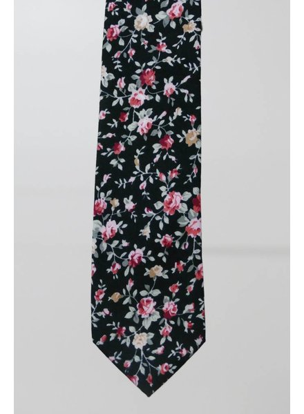 Robbins & Brooks Cotton Tie- Black Design w/ Grey & Pink Flower