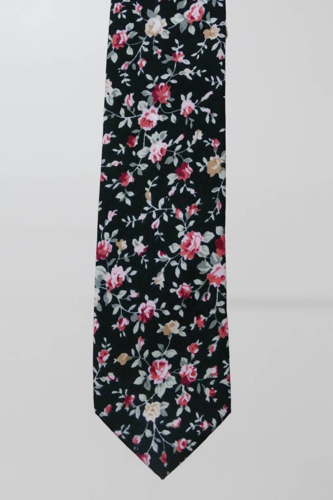 Robbins & Brooks Cotton Tie- Black Design w/ Grey & Pink Flower