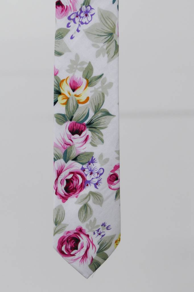 Robbins & Brooks Cotton Tie- White Design w/ Large Pink Flower