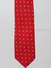 Robbins & Brooks Cotton Tie- Red Design w/ Big White Dots