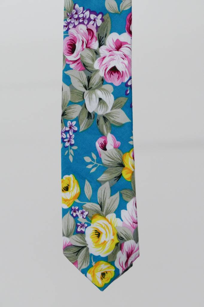 Robbins & Brooks Cotton Tie- Blue Design w/ Large Pink Flower