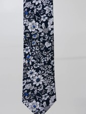 Robbins & Brooks Cotton Tie- Navy & White Design w/ White Flower