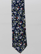 Robbins & Brooks Cotton Tie- Navy Design w/ Small Red & Yellow Flower