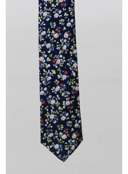 Robbins & Brooks Cotton Tie- Navy Design w/ Small Red & Yellow Flower