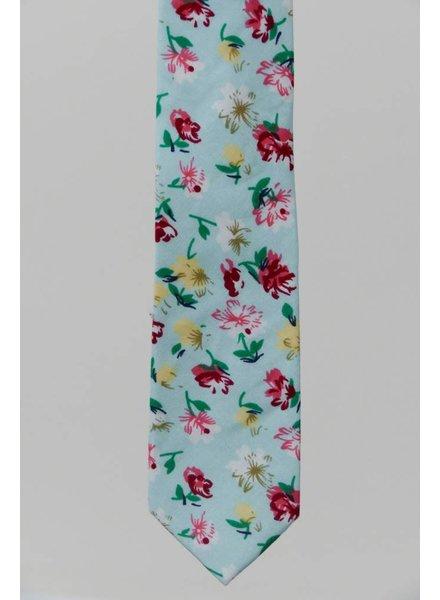 Robbins & Brooks Cotton Tie- Light Green Design w/ Red, Yellow & White Flower