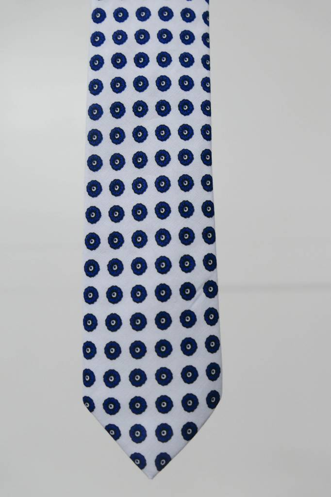 Robbins & Brooks Cotton Tie- White Design w/ Small Navy Flower