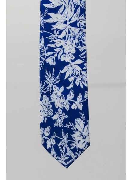 Robbins & Brooks Cotton Tie- Blue Design w/ White Leaf
