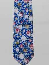 Robbins & Brooks Cotton Tie- Blue Design w/ Red & Yellow Flower