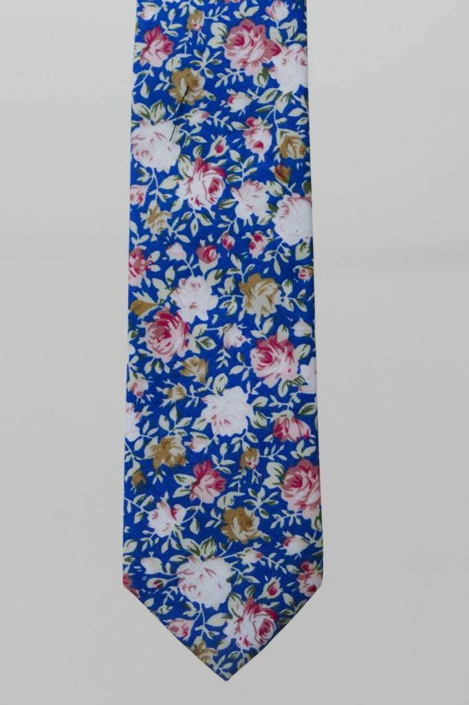 Robbins & Brooks Cotton Tie- Blue Design w/ Red & Yellow Flower