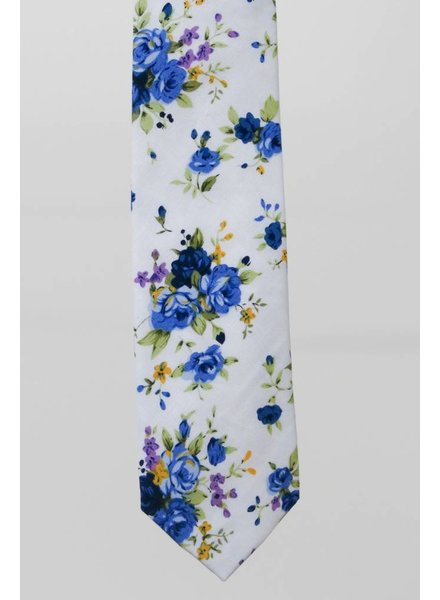 Robbins & Brooks Cotton Tie- White Design w/ Blue Flower