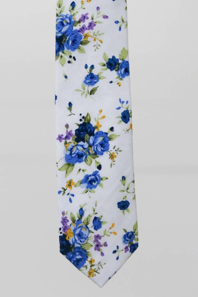 Robbins & Brooks Cotton Tie- White Design w/ Blue Flower
