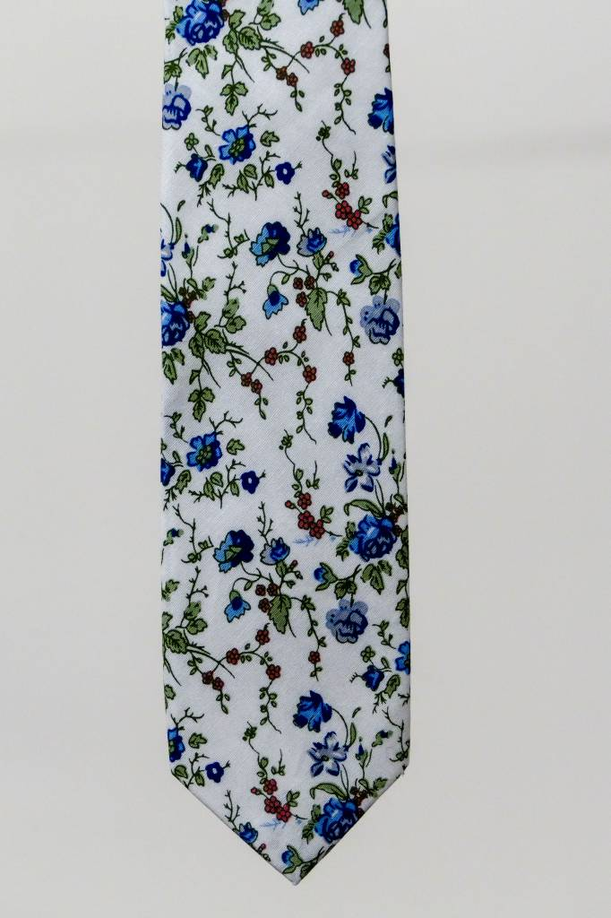 Robbins & Brooks Cotton Tie- Ivory Design w/ Blue Flower