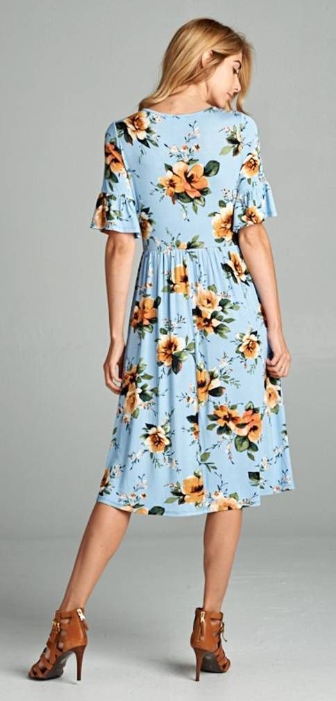 Floral Dress w/ Bell Sleeves