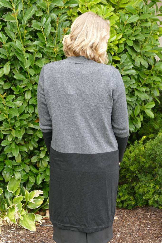 Colorblock Duster Cardigan with Pockets