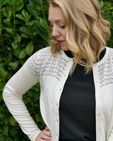 Silk Blend Cardigan w/ Illusion Pointelle