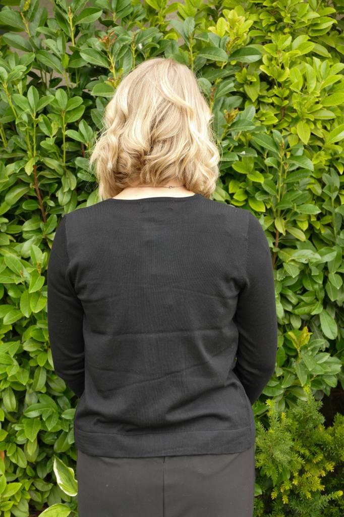 Silk Blend Cardigan w/ Flocked Inset