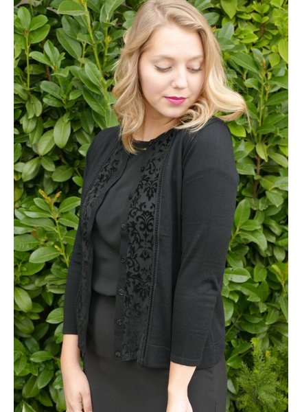 Silk Blend Cardigan w/ Flocked Inset