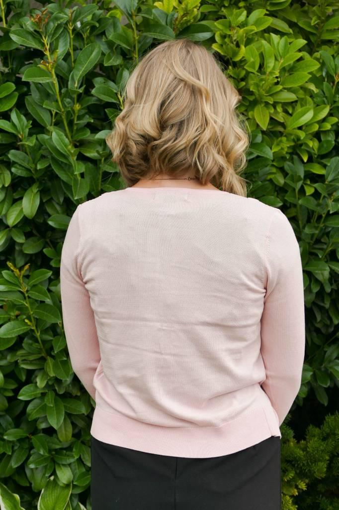 Silk Blend Cardigan w/ Circular Yoke Lace Inset