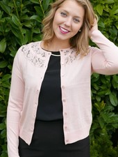 Silk Blend Cardigan w/ Circular Yoke Lace Inset