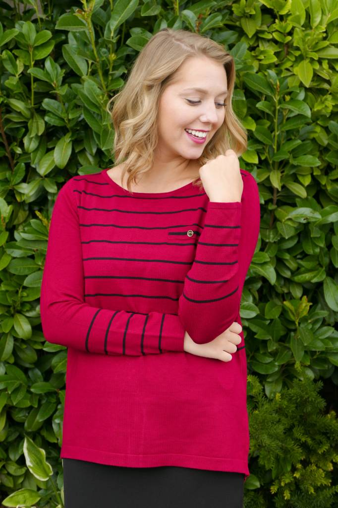Button Back Striped Sweater