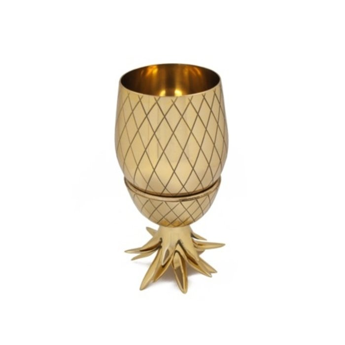 Large Pineapple Tumbler w/ Straw - Gold, 16 oz.