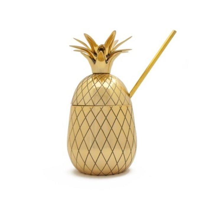 Large Pineapple Tumbler w/ Straw - Gold, 16 oz.
