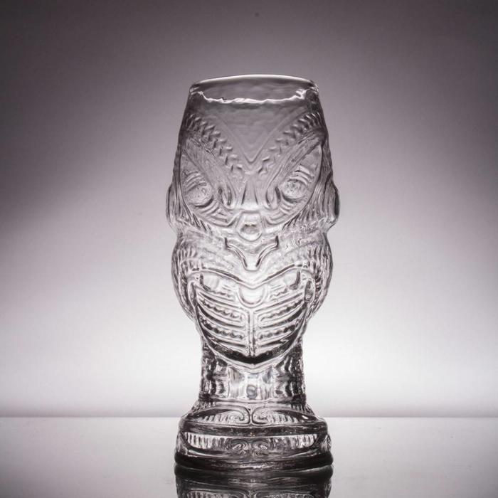 Hand-Blown Glass Tiki Mug, Head Hunter