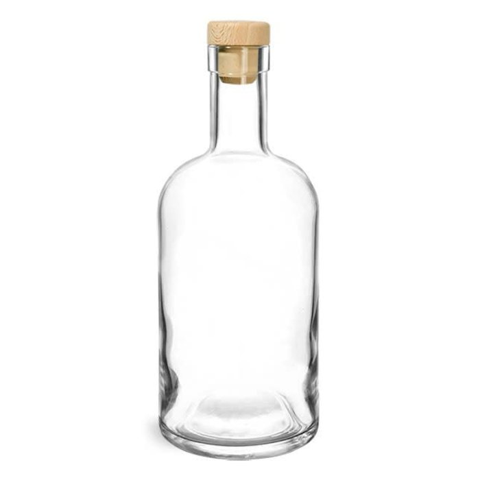 Clear Glass Bar Bottle w/ Wood Cap Cork, 750ml