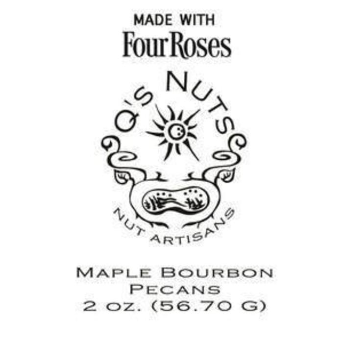 Q's Nuts Four Roses Bourbon Maple Pecans, 2oz Bag