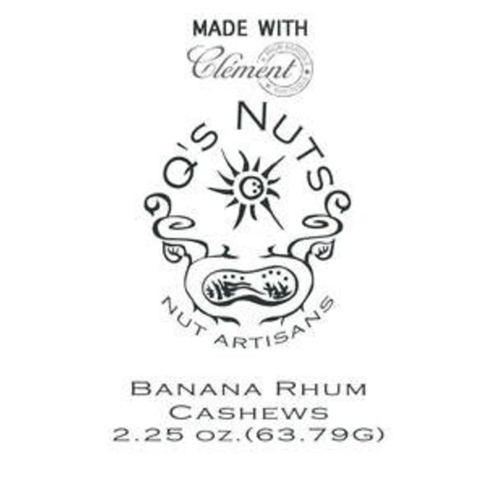 Q's Nuts Clement Rhum Banana Foster Cashews, 2oz Bag