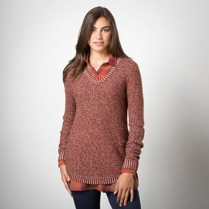 Toad & Co GALENA V-NECK SWEATER DARK CHESTNUT
