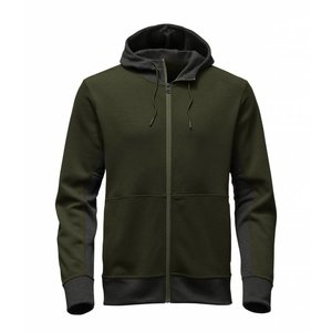 The North Face MEN'S SLACKER FULL ZIP HOODIE Rosin Green Dark Heather/TNF Dark Grey Heather