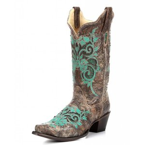 Corral R1213 Turquoise Inlay And Studs Brown Western Boots
