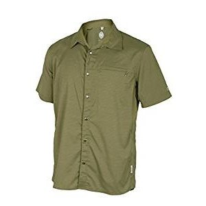 Club Ride Vibe Men's Short Sleeve Snap Down Top Olive Stripe