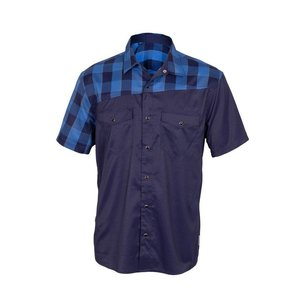 Club Ride Bolt Men's Short Sleeve Snap Down Top Sapphire Plaid