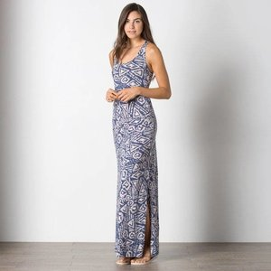 Toad & Co MONTAUKET LONG DRESS INDIGO BRUSH PRINT