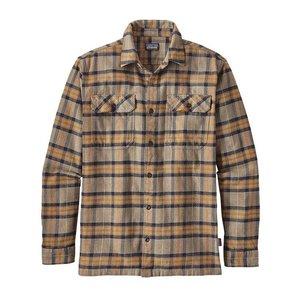 Patagonia M's L/S Fjord Flannel Shirt Migration Plaid: Mojave Khaki