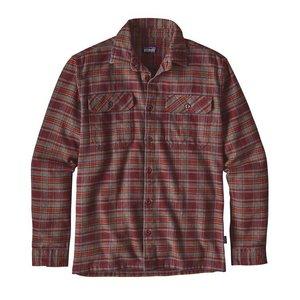 Patagonia M's L/S Fjord Flannel Shirt Salty Flats: Dark Ruby