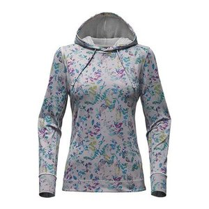 The North Face W HOODED SHADE ME SHIRT High Rise Grey Leaf Print