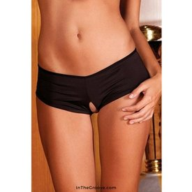 Rene Rofe Crotchless Lace Up Boyshort