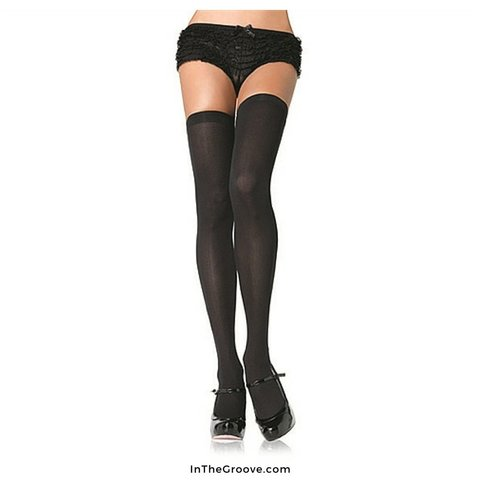 Opaque Thigh High Black - Queen