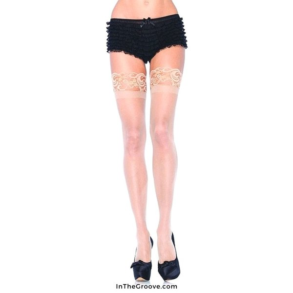 Leg Avenue Sheer Stay-up Lace Top Thigh High - Queen