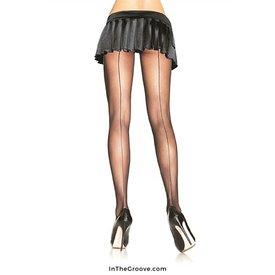 Leg Avenue Sheer Backseam Pantyhose Black - Queen