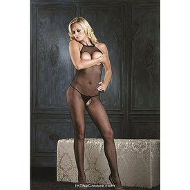 Leg Avenue Fishnet Hi-Neck Halter Peekaboo Bodystocking Black - Queen
