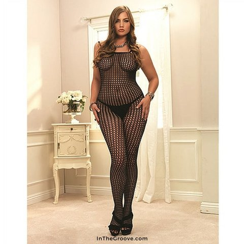 Crochet Net Bodystocking Black - Queen