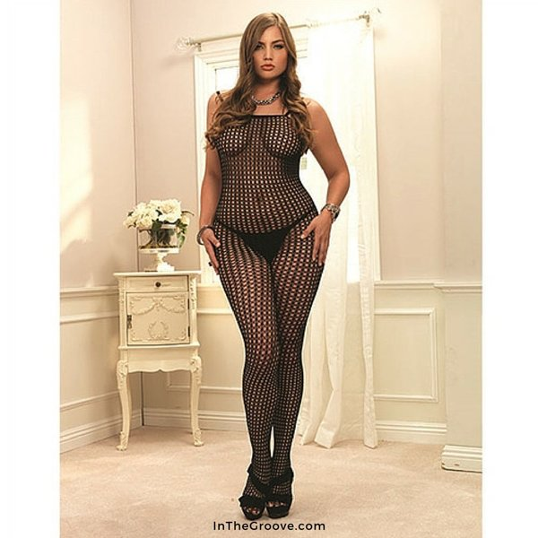 Leg Avenue Crochet Net Bodystocking Black - Queen