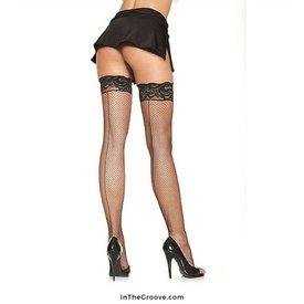 Leg Avenue Lycra Back Seam Fishnet W/ Silicone Lace Top Queen BLACK