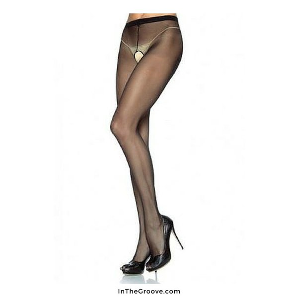 Leg Avenue Sheer Crotchless Pantyhose Black Queen
