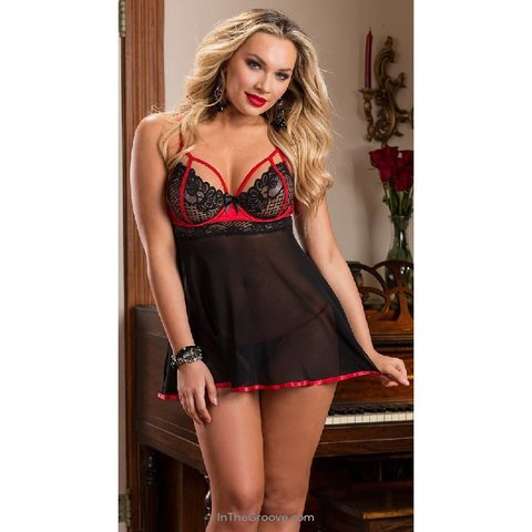 Exposed Babydoll With Red Trim