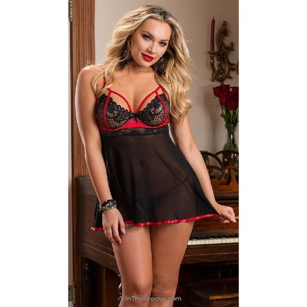 Escante Exposed Babydoll With Red Trim